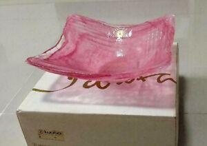 "BEAUTIFUL VINTAGE IWATA GLASS SALAD FRUIT BOWL 9"" SQUARE PINK WITH ORIGINAL BOX"