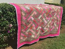 """Handmade Quilt Throw blanket or Queen Topper New Usa 58""""x72"""" 100% Cotton"""