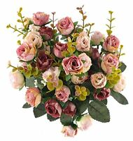 Artificial Silk Rose Dried Flowers Fake Bouquet Wedding Floral Decor Pack of 2