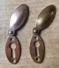 Pair Of Vintage Escutcheon Keyholes Brass Copper Antique Dior Victorian