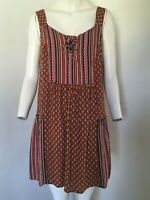 LOVELY!! Sleeveless Geometric Patterned Orange/Red Mix Tunic Top By TU - Size 14