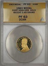 1963 Proof Pope John XXIII Gold Medal 3.49g ANACS PF-63 DCAM