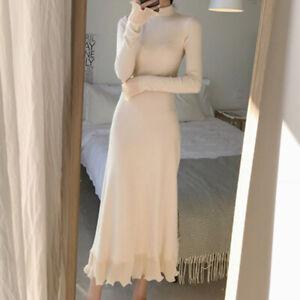 Womens Half High Neck Ruffles Long Sleeves Knitted Fashion Dress Slim Fit Jumper