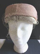 Fab 1950 Ladies Vintage Round Hat Easter Church Chapel Netting Veil Original Tag