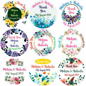 Personalised Wedding Stickers 37mm Floral Round Labels Mehndi Flowers
