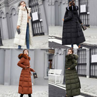 Women  Long Parka Cotton Down Jacket Winter Padded Coat Hooded Fur Collar Quilte