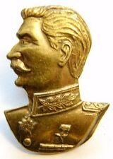 USSR Soviet Russian JOSEPH STALIN Badge Brass Screwback