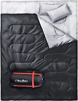 Ohuhu Double Sleeping Bag with 2 Pillows Waterproof Lightweight 2 Person Adults