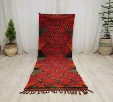Tribal Vintage Moroccan Handmade Runner Rug 3x8'9 Berber Geometric Red Wool Rug