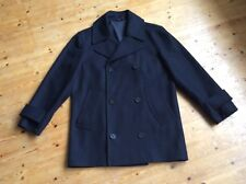 ORIGINALE Montgomery Mans reefer Cappotto Taglia SMALL in lana blu navy scuro