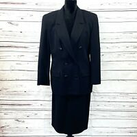 Vintage Christian Dior Women's 2PC Skirt Suit Wool Blazer Double Breasted Sz 14