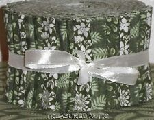 "Jelly Roll Strips Quilting Fabric 21~2.5"" Soft Sage Green Mix Cotton"