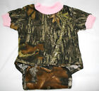Mossy Oak Camo Pink Baby Diaper Shirt, Girl Camouflage Snap Creeper