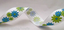 "BLUE & GREEN FLOWER  WIRED RIBBON  1.5"" X 5 YARD~POLYESTER~"