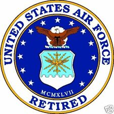 """United States Air Force Retired Aluminum Sign 11.75"""" Round"""