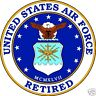 """United States Air Force Retired 4"""" Round Window or Bumper Decal Sticker USAF"""