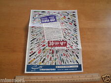 1960's Fishing Lures advertising page colorful Burbank CA Sports Liquidators