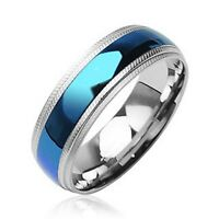 US Seller Blue Plain Center 6mm Stainless Steel Ring Size 5-12 Half Size SR32