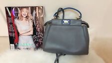 Seller Clearance~~Grey Blue Double sided Genuine Leather Clutch/Cross Body Bag~