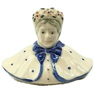 Vintage Shawnee Pottery Granny Figure Teapot Made USA 1950's (just the lid) Blue