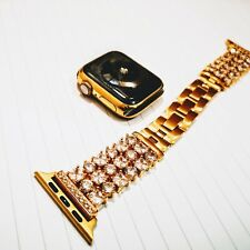 24ct Gold Plated 40MM Apple Watch Series 4 Links Band with Diamond Rhinestones