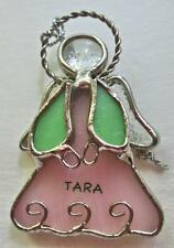 """Hand Made Stained Glass Angel Ornament Pink Skirt """"TARA""""   2.25"""""""
