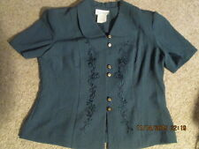 Women's Vintage Short Sleeve Suit Jacket size 12 Petite Hunter Green