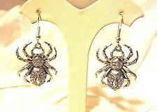 CRYSTAL AVENUE SILVE SPIDER DANGLE EARRINGS WITH CRYSTAL RHINESTONES   HALLOWEEN