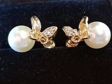 CURATED PEARL BUTTERFLY GOLD FILLED EARRINGS