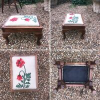 Vintage Small Carved Wooden Tapestry Topped Footstool Stool