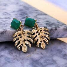 Fashion Emerald 18K Gold Filled Ear Stud Hollow Maple Leaf Dangle Drop Earrings