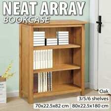 vidaXL Solid Oak Wood Bookcase Storage Display Shelf Stand Unit Multi Sizes