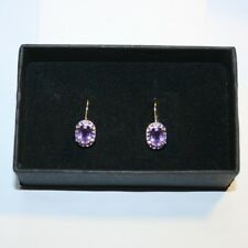 Purple Amethyst Tiny Diamond Leverback Dangle Earrings 14k Yellow Gold over Base