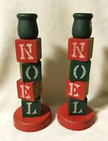 Vintage Handmade Wood Block NOEL - LOVE Reversible Christmas Candle Holders