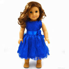 Handmade Blue Clothes Doll Dress for 18 inch American Girl Doll Party Kids Toys