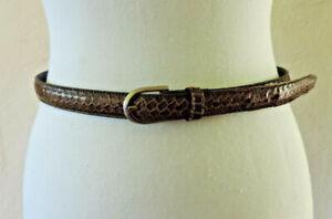 SPORTSCRAFT brown leather snakeskin belt, 84cm long, size M