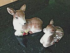 Salt Pepper Shaker Deer Fawn Figurines Set Ceramic Table Cruet Pots Dinnerware