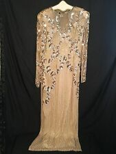 EUC Vintage Silk Full length Beaded Sequin Dress Gold Back Out Slit Size 12