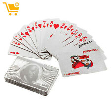 Waterproof Sliver Playing Card Sliver Foil Plated Poker Playing Cards Table Game
