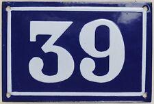Old blue French house number 39 door gate plate plaque enamel steel sign c1950