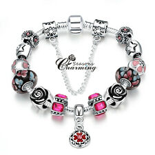 925 Stirling Silver Charm Rose Red European Bead Flower Pandent Bangle Bracelet