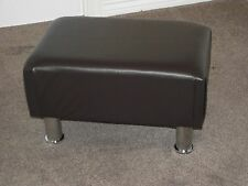 Large high block style footstool solid frame silver chrome legs upholstered uk