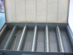 Slide Projector Storage Boxes Gray Metal Latched Box 150 slides slots 2x2 Vtg