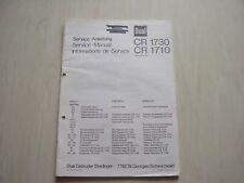 DUAL Original Service Manual für CR 1730 CR 1710 Jan 1981 in D / E  / F