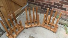 welly boot holder dryer stand,wooden oak stained weather proof four pairs.wow!!!