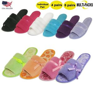 New Women's Multi-Pack Cotton Comfy Fleece Soft Lightweight Indoor House Slipper