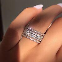 Luxury 925 Silver White Sapphire CZ Wedding Ring Classy Engagement Band Jewelry