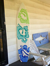 6 Foot Surfboard wall art in white with three large hibiscus flowers decor