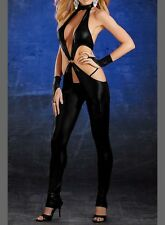 BLACK LIQUID LEATHER CUTOUT JUMPSUIT ROMPER - Perfect for Cosplay - Sizes 8 & 10