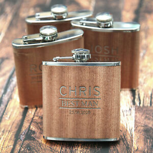 Personalised 6oz Wood/Steel Hip Flask Wedding Best Man Usher WOW !!
